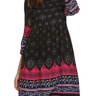 SE MIU Women Bohemian Vintage Printed Crew Neck Ethnic Style Loose Casual Boho Tunic Dress thumbnail